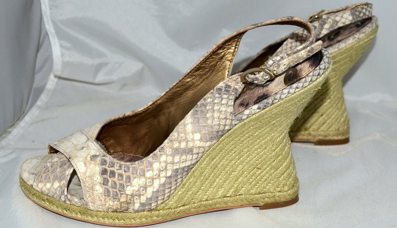 Sam Edelman Arianna Snake Embossed Leather Womens Slingback Wedge shoes Sz 9.5 M