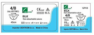 24 Fili Per Sutura in seta  Dentkom  4- 0 Reverse Cutting  18 mm- 1/2 cerchio