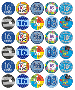 30x 21st Birthday Boy Blue Cupcake Toppers Edible Wafer Paper Fairy Cake Toppers