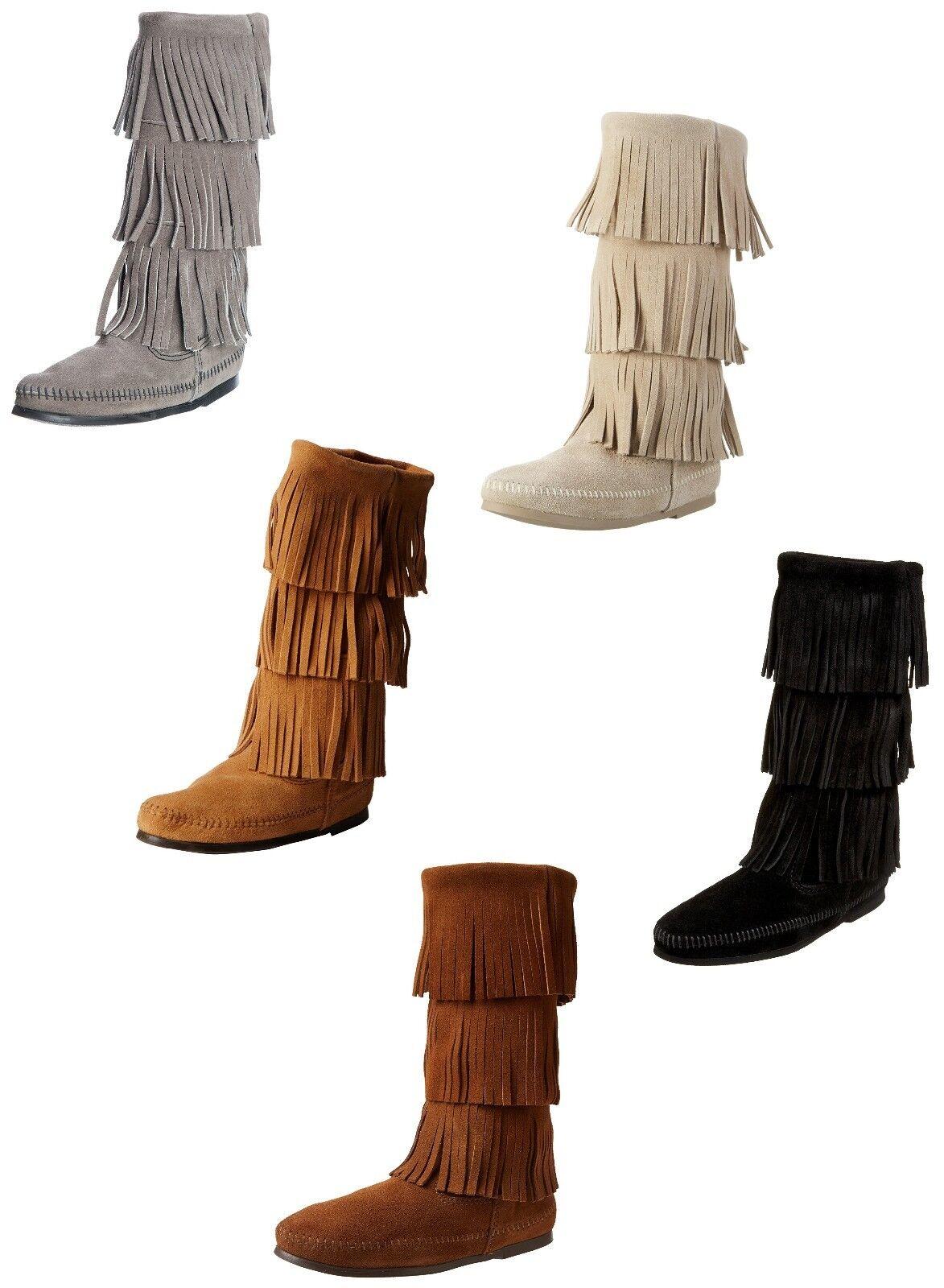 Men's/Women's Minnetonka Women's 3-Layer Fringe Boot economic New in stock Personalization trend