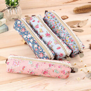 Fashion-Flower-Floral-Lace-Pencil-Pen-Case-Cosmetic-Makeup-Bag-Zipper-Pouch