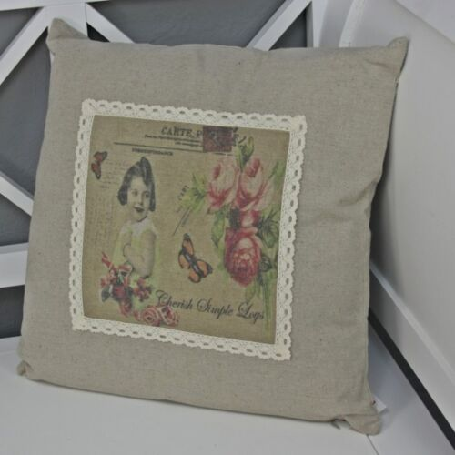 Pillow 40x40 Wool LOVE Print White Rose Filled Scatter Cushions Butterfly Motif