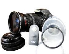 NEW Wide Angle Macro Lens + UV Filter + Remote For Nikon D5300 D5200 D3300 D3200