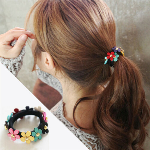 2X Frauen-Blumen-PonyTail elastisches Gummi-Haar-Band-Bindung Seil Ring WRXJ