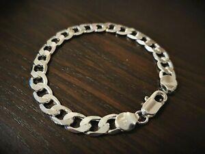 Men-039-s-925-sterling-silver-bracelet-chain-link-Free-gift-bag-included