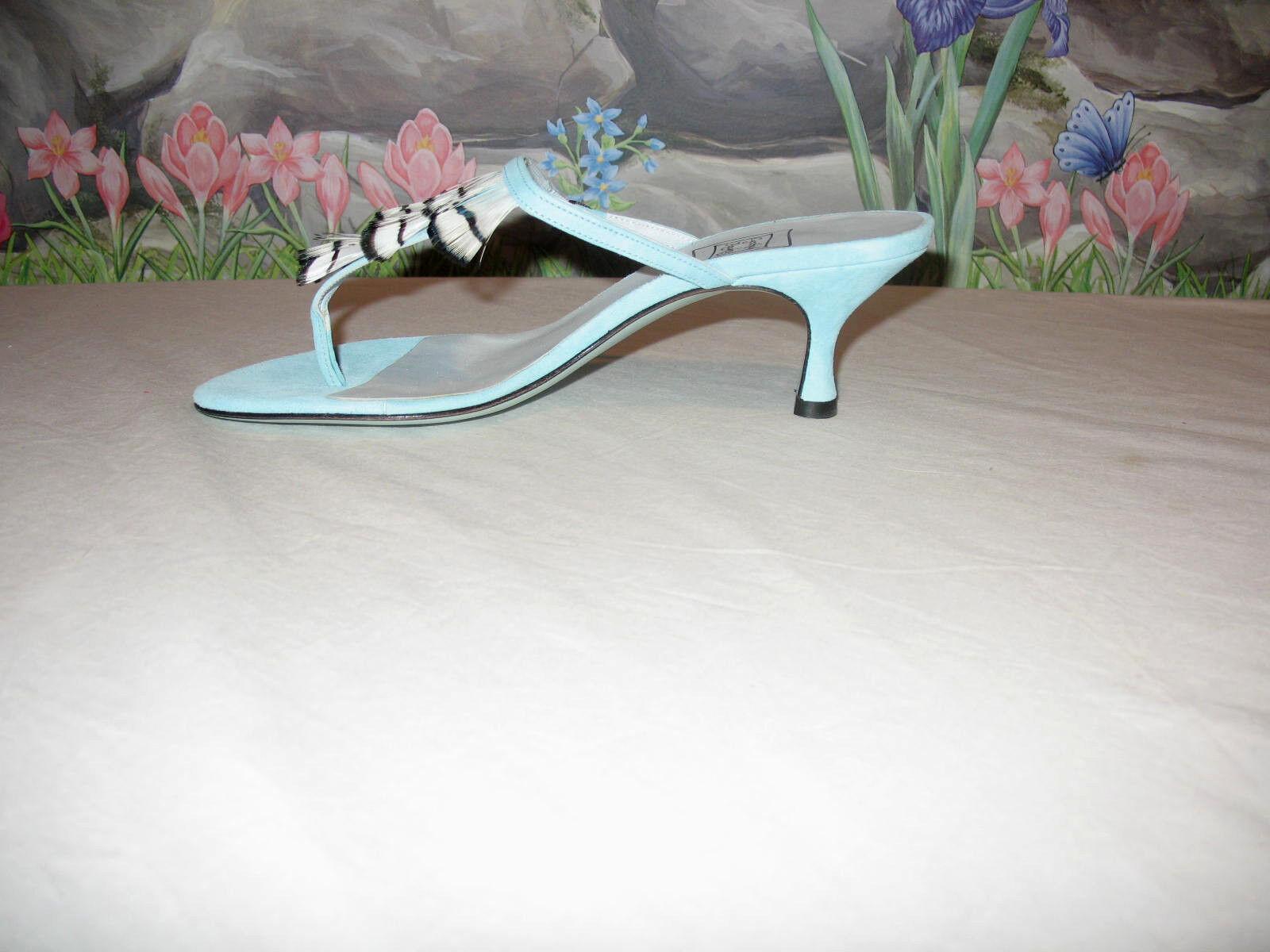 New  198 CYNTHIA ROWLEY ROWLEY ROWLEY blu Suede w Feathers Sandals 7 4416dd