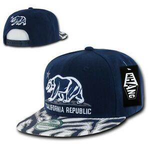 Navy California Republic Cali Zebra Print Flat Bill