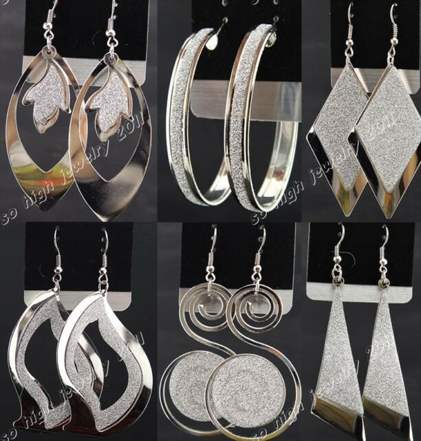 Freeshipping 6pairs Silver P Frosted Drop Hoop Women Earrings Wholesale Jewelry