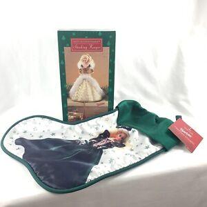 Vtg-Gold-Dress-Barbie-Christmas-Stocking-Hanger-w-Stocking-90s-Hallmark-Nib
