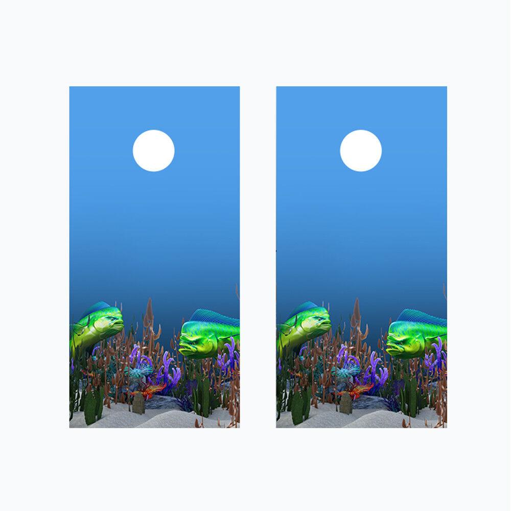 Cornhole Board Wraps 2 Vinyl Decal Mahi Mahi Dolphinfish Ocean Beach Theme 03