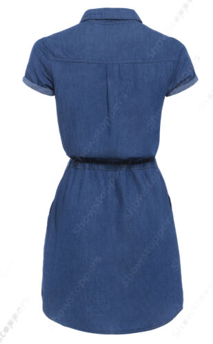 18 Donna 14 Shirt Jean Womens Longline 8 10 Taglia Dress Denim 12 Blue New Uw74aqa