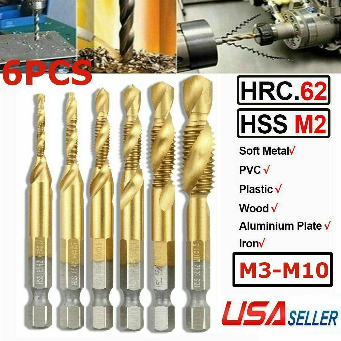 "6Pcs Metric Thread M3-M10 Titanium Coated HSS Drill and Tap Bits 1//4/"" Hex Shank"