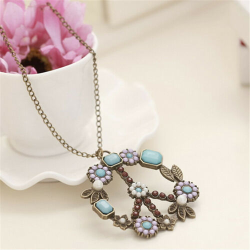 Women Vintage Flower Pearl Pendant Long Sweater Chain Necklace Jewelry