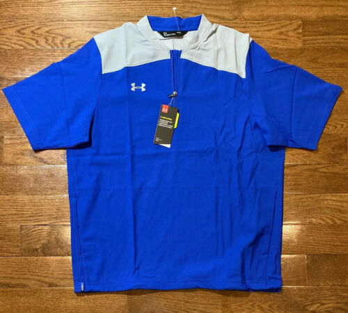 Mens Size Large Under Armour Short Sleeve Cage Jacket Blue//gray 1287619-400