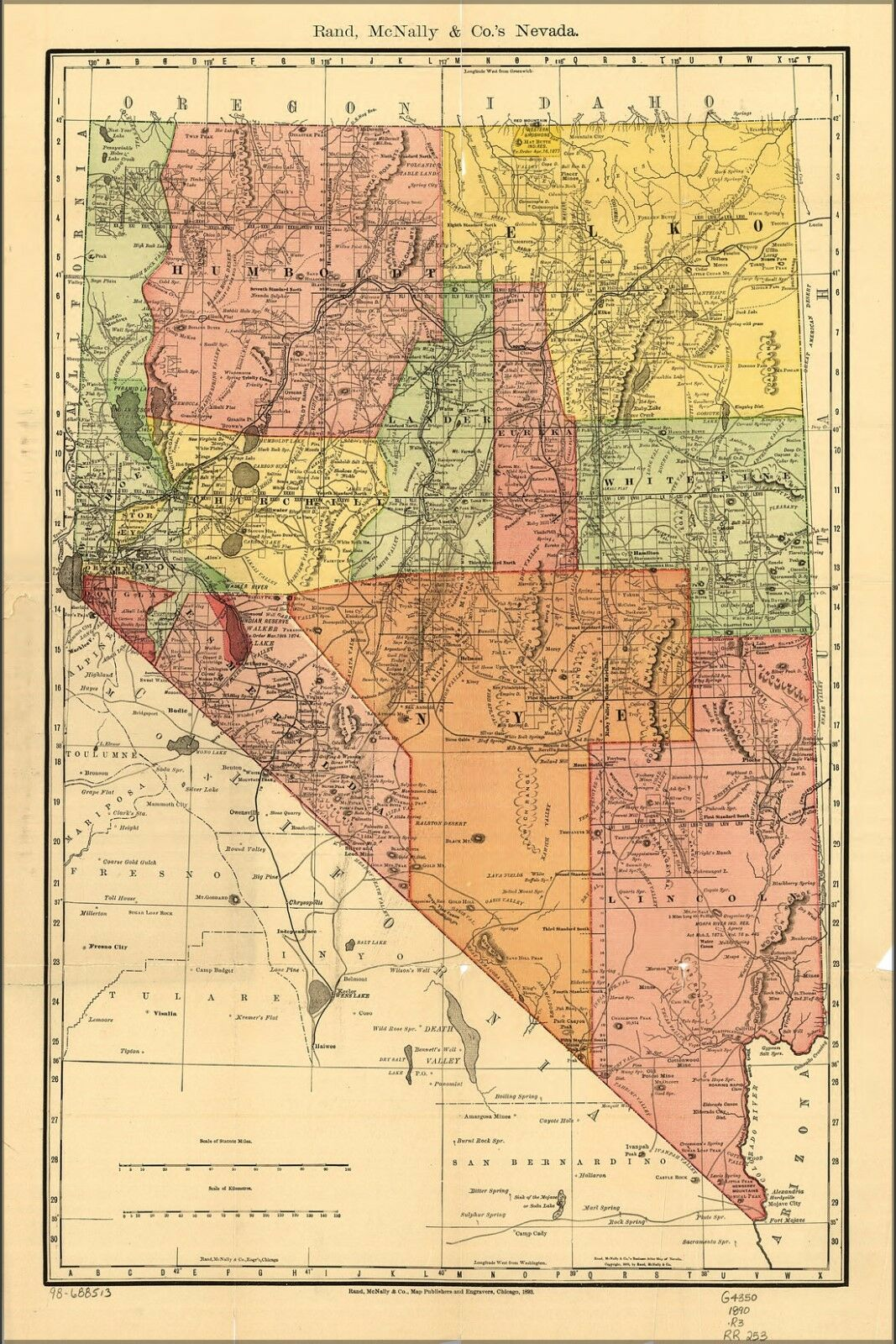 Poster, Many Größes; County, Railroad, Shippers Map Of Nevada 1893