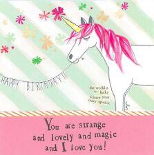 CURLY GIRL CARD: HAPPY BIRTHDAY I LOVE YOU UNICORN POST DAILY + WORLDWIDE