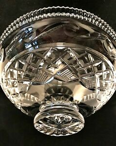 Vintage-Waterford-Centerpiece-Bowl-Heavy-Clear-Lead-Crystal-11-inch-Diameter