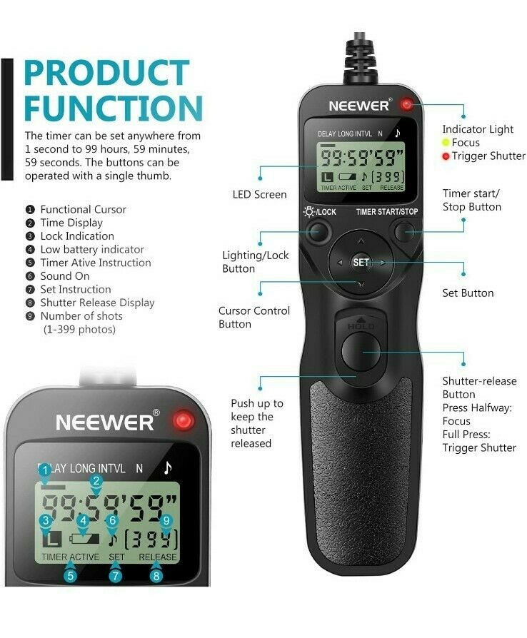 Neewer EZA-C1 Digital Camera Remote Timer Control Shutter release for Canon EOS