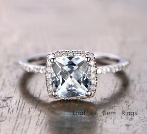 Cushion Cut Aquamarine Engagement Ring 14k White Gold Diamond Halo