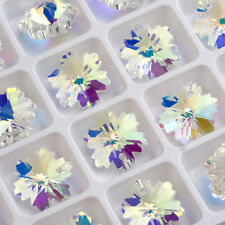 20pcs 14X7mm  Snowflake Crystal Glass Loose Spacer Pendant Beads Jewelry Making