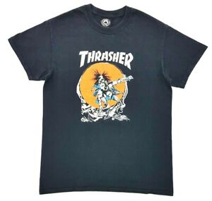 Thrasher-Magazine-Pushead-Skate-Outlaw-Tee-Black-Size-S-Adult-T-Shirt