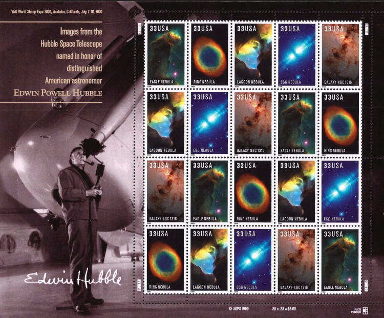 2000 33c Edwin Powell Hubble, Telescope, Sheet of 20 Sc