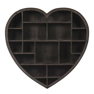 Large-Wooden-Rustic-Heart-Wall-shelf-Vintage-Style-New-79CM-18-Compartments