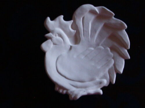 ROOSTER TEABAG HOLDER CERAMIC READY to PAINT JEWELRY tray dish spoon Rest New