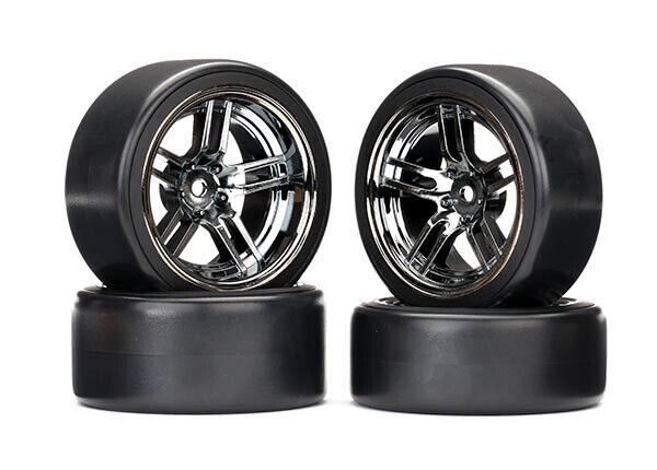 Traxxas TRX8378 Reifen auf Felgen verklebt Split-Spoke Felge black chrome