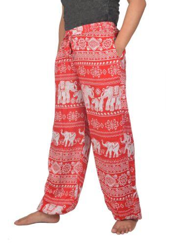 Women/'s Smocked Waist Elephant Print Harem Hippie Trousers