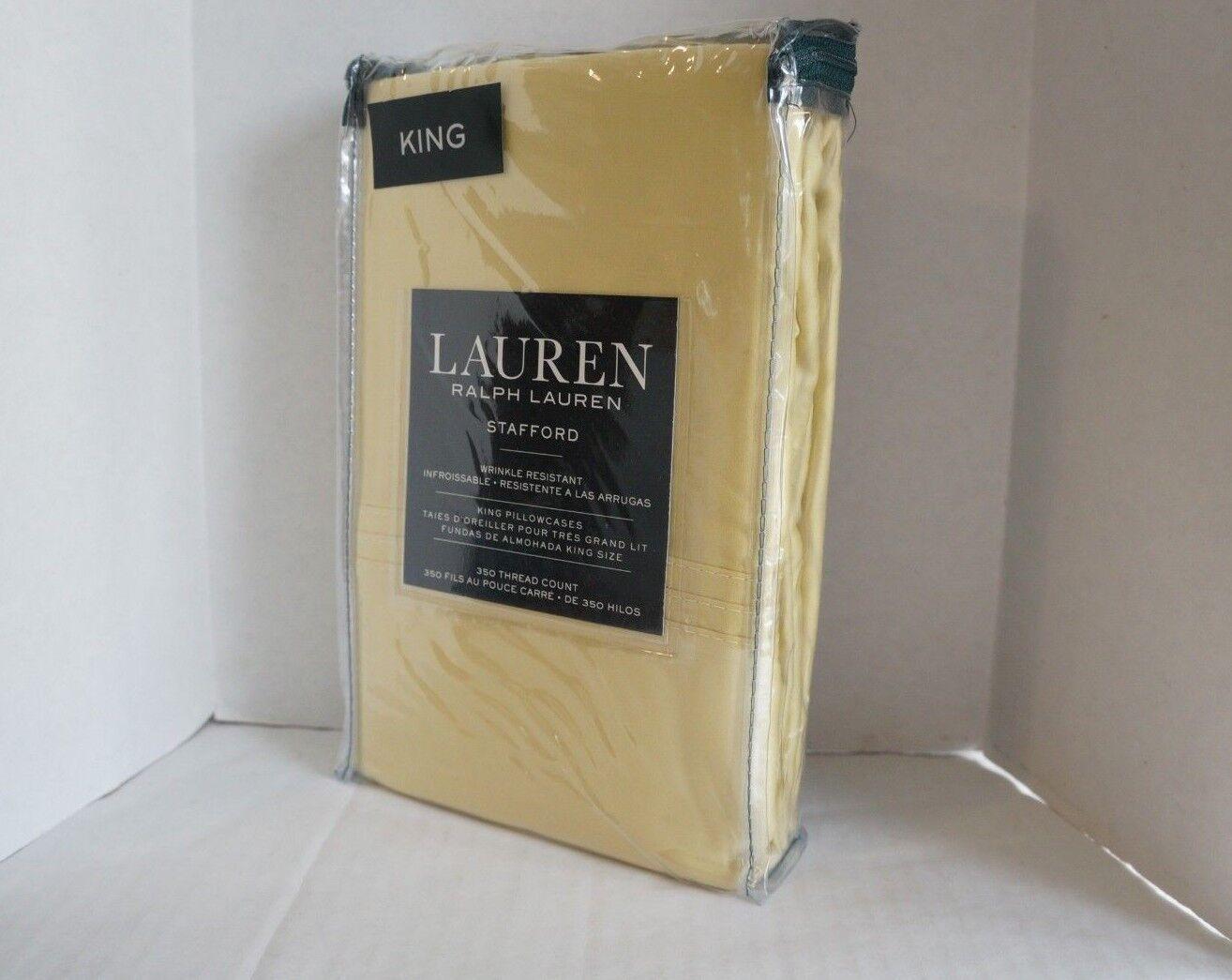 2 Ralph Lauren King Pillowcases Stafford 100% Cotton Yellow gold Straw 350tc New