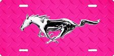 airbrushed aluminum mustang horse pink diamond plate car tag  license plate 1