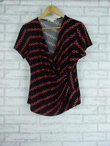 JANE-LAMERTON-Stretch-Top-Sz-16-Black-Orange-Chain-Print