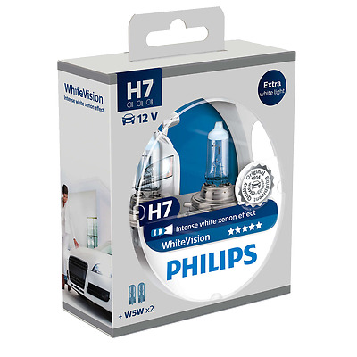 PHILIPS WHITE VISION XENON EFFECT HEADLIGHT H7 FITTINGS (TWIN)