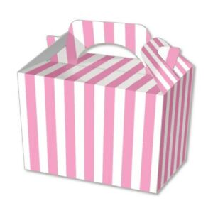 Details About Pink Stripe Kids Party Lunch Boxes Birthday Box Wedding Food Bag Meal Carry Gift