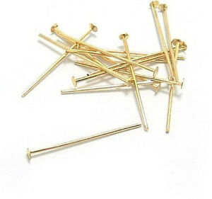 100Pcs-28mm-Gold-Plated-Head-Pins-21-Ggauge-DIY-Jewelty-Finding