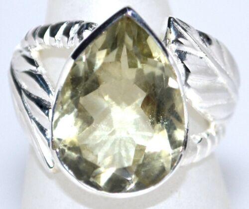 Unique Sterling SILVER Ring Green Amethyst Rings Genuine Gemstone 925 Jewellery