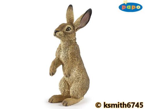 Papo in Piedi Lepre solido in plastica giocattolo Wild Zoo Woodland Animali Coniglio NUOVO *