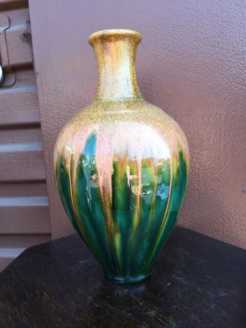 Speckled Paint Handmade Vase Green And Wheat Pattern