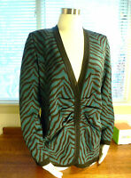 Exclusively Misook Acrylic Teal Black Brown Animal Print Button Jacket M