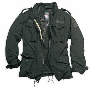 Excedente-Vintage-Regimiento-M65-chaqueta-lavado-Clasico-Parka-nos-Campo-Negro