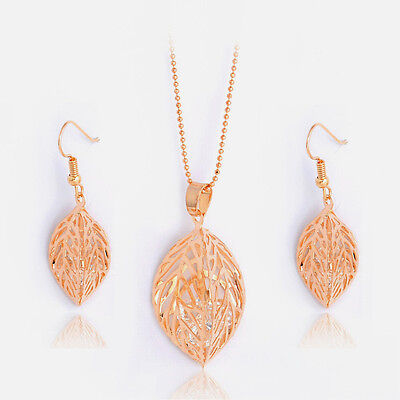Fashion Party Wedding Jewelry Sets 18K Gold Plated Crystal Necklace Earrings