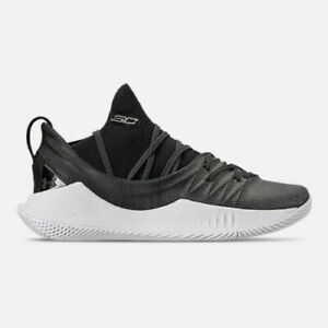 sale retailer ee5ae a2c04 Details about Under Amour UA Youth GS CURRY 5 Basketball Shoes Black/White  Shoes 3020741-101