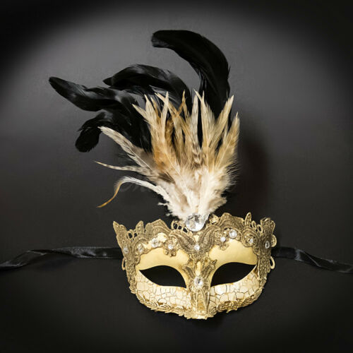 Masquerade Mask Feather Lace Venetian Mardi Gras Masks for Women M7629 Ivory