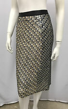 GIANFRANCO FERRE SEQUIN SKIRT BLACK OFF WHITE CHAMPAGNE AMAZING SIZE 42 SMALL S