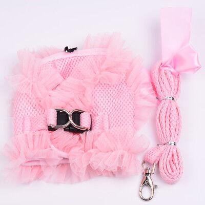 Soft Pet Puppy Control Harness Set Dog Cat Mesh Walking Collar Lace Strap leash