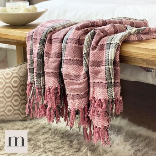 Grey Tartan Herringbone Check Sofa Bed Throw Blanket Luxury Cotton Blush Pink
