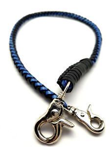 Handmade-Biker-chain-blue-black-braided-leather-Trucker-wallets-made-in-USA