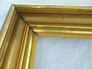 Antique-Fits-16-X-20-Lemon-Gold-Gilt-Picture-Frame-Wood-Gesso-Fine-Art-Country
