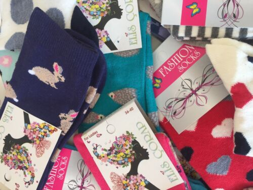 15 pairs luxury women/'s ladies design coloured socks cotton UK size  4-7  CHNKR